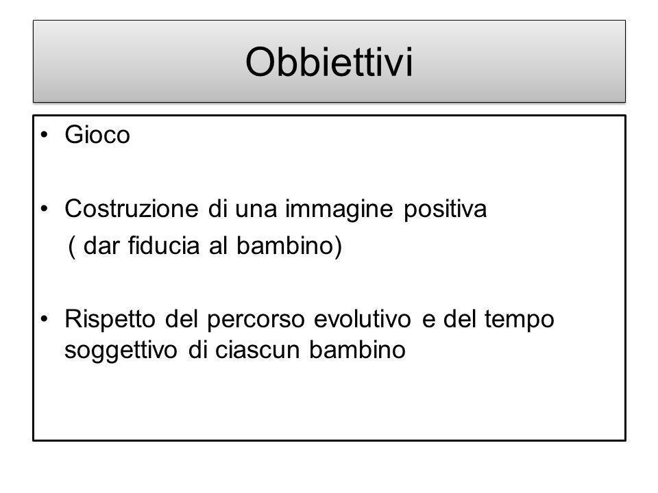 Obbiettivi Gioco Costruzione di una immagine positiva ( dar fiducia al bambino) Rispetto del percorso evolutivo e del tempo soggettivo di ciascun bamb