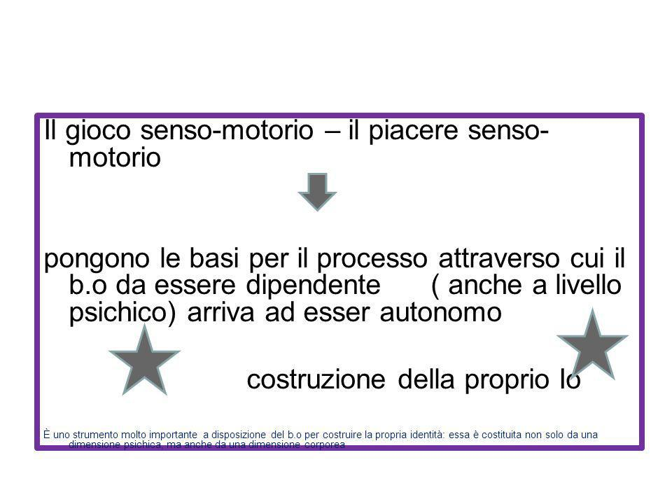 Il gioco senso-motorio – il piacere senso- motorio pongono le basi per il processo attraverso cui il b.o da essere dipendente ( anche a livello psichi