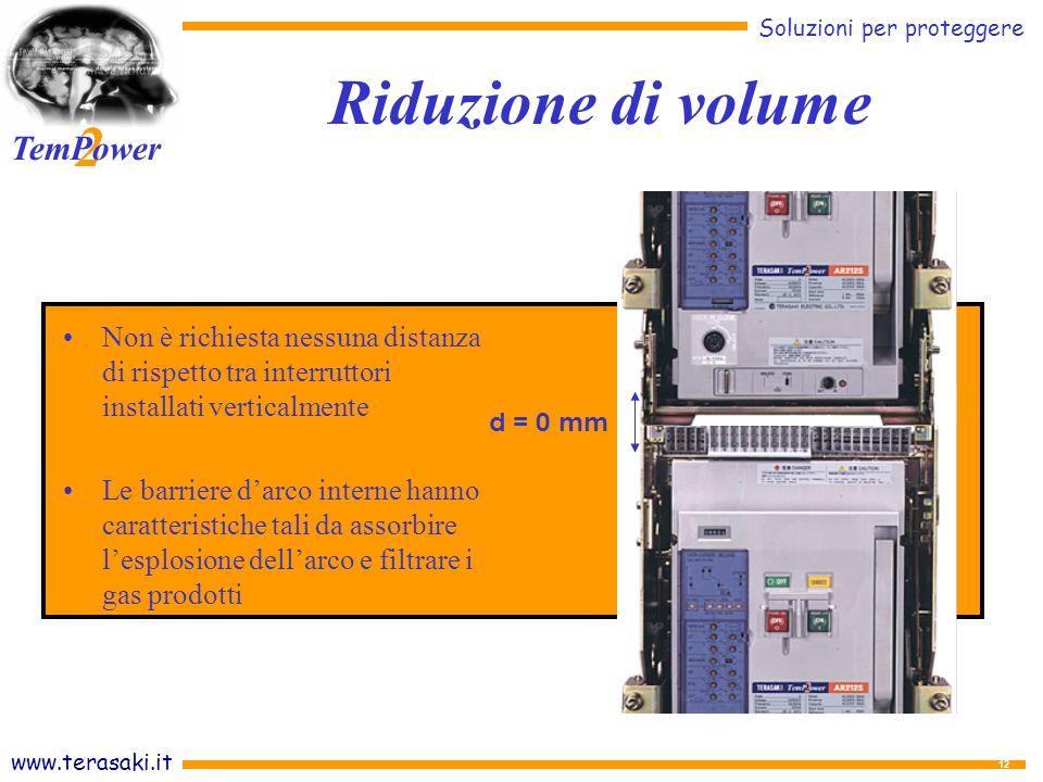 www.terasaki.it Soluzioni per proteggere 2 TemPower 12 Non è richiesta nessuna distanza di rispetto tra interruttori installati verticalmente Le barriere darco interne hanno caratteristiche tali da assorbire lesplosione dellarco e filtrare i gas prodotti d = 0 mm Riduzione di volume