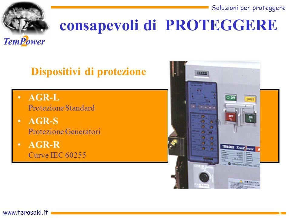 www.terasaki.it Soluzioni per proteggere 2 TemPower 18 AGR-L Protezione Standard AGR-S Protezione Generatori AGR-R Curve IEC 60255 consapevoli di PROTEGGERE Dispositivi di protezione