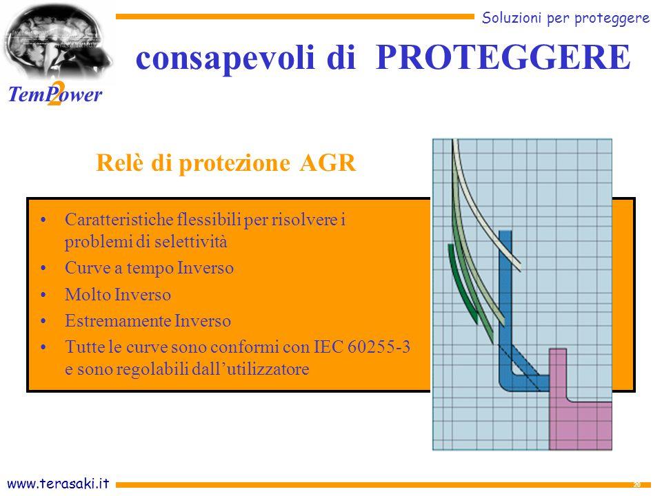 www.terasaki.it Soluzioni per proteggere 2 TemPower 20 Caratteristiche flessibili per risolvere i problemi di selettività Curve a tempo Inverso Molto Inverso Estremamente Inverso Tutte le curve sono conformi con IEC 60255-3 e sono regolabili dallutilizzatore Relè di protezione AGR consapevoli di PROTEGGERE