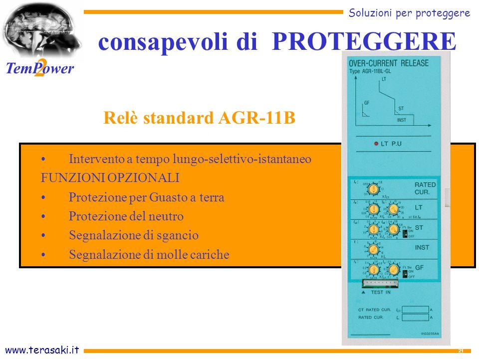 www.terasaki.it Soluzioni per proteggere 2 TemPower 21 Intervento a tempo lungo-selettivo-istantaneo FUNZIONI OPZIONALI Protezione per Guasto a terra Protezione del neutro Segnalazione di sgancio Segnalazione di molle cariche Relè standard AGR-11B consapevoli di PROTEGGERE