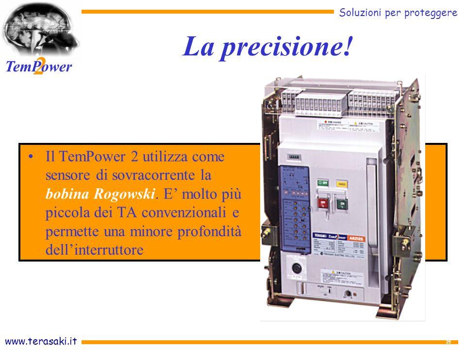 www.terasaki.it Soluzioni per proteggere 2 TemPower 29 Il TemPower 2 utilizza come sensore di sovracorrente la bobina Rogowski.