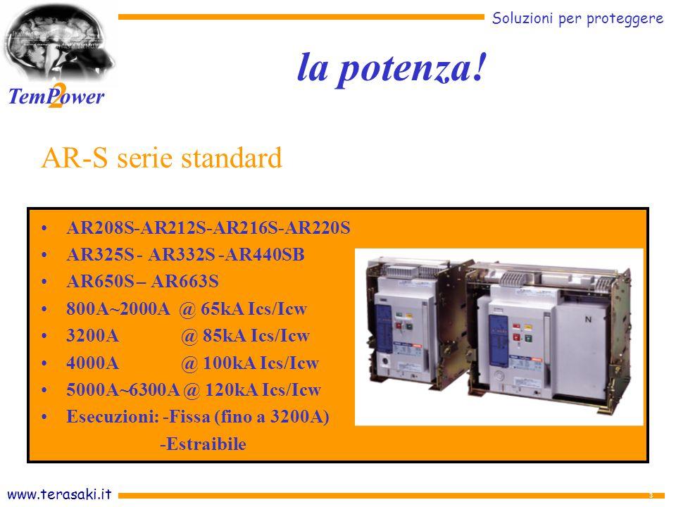 www.terasaki.it Soluzioni per proteggere 2 TemPower 24 Intervento a tempo lungo-selettivo-istantaneo Segnalazione individuale di sgancio Allarme di presgancio Analizzatore di parametri elettrici Verifica delle impostazioni FUNZIONI OPZIONALI Protezione per Guasto a terra Protezione del neutro Segnalazione, di molle cariche Funzioni di comunicazione (Modbus) Relè AGR-31B con schermo LCD - Analizzatore Il controllo!