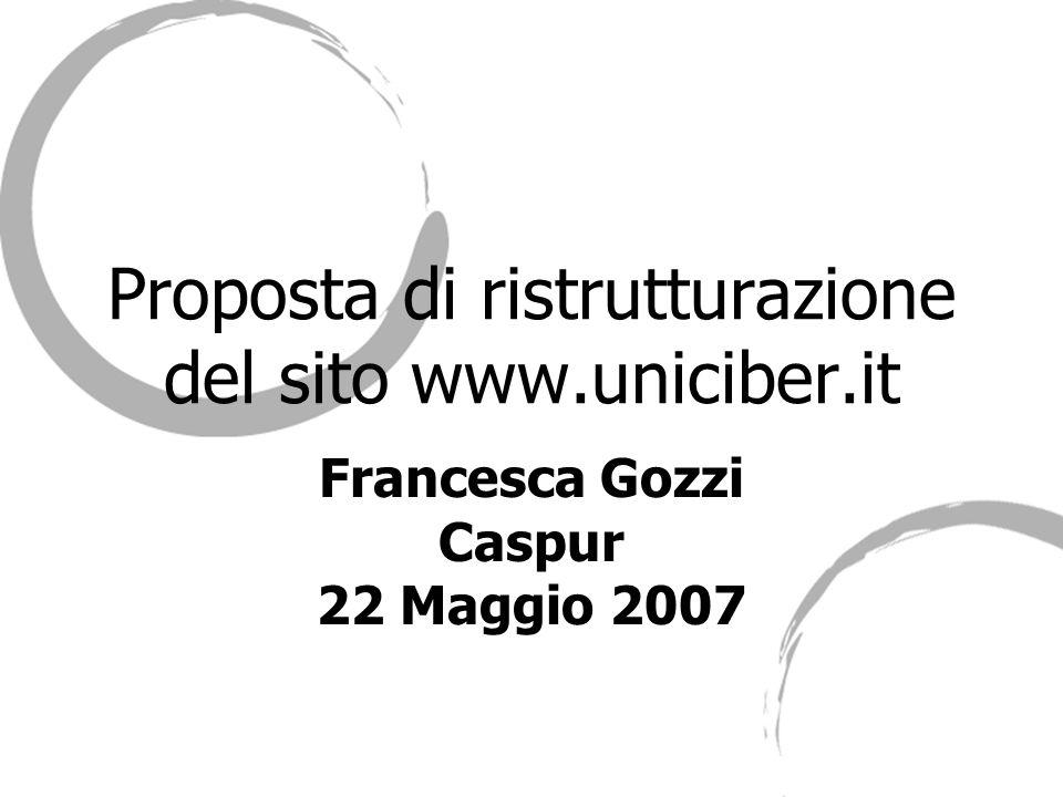 Francesca Gozzi - Caspur2 Indice -Premessa -Il sito www.uniciber.itwww.uniciber.it -Le statistiche -Comunicare Uniciber attraverso Internet -Proposta di Ristrutturazione del sito -Conclusioni