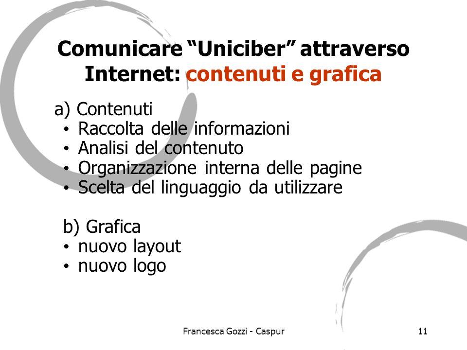 Francesca Gozzi - Caspur11 Comunicare Uniciber attraverso Internet: contenuti e grafica a) Contenuti Raccolta delle informazioni Analisi del contenuto Organizzazione interna delle pagine Scelta del linguaggio da utilizzare b) Grafica nuovo layout nuovo logo