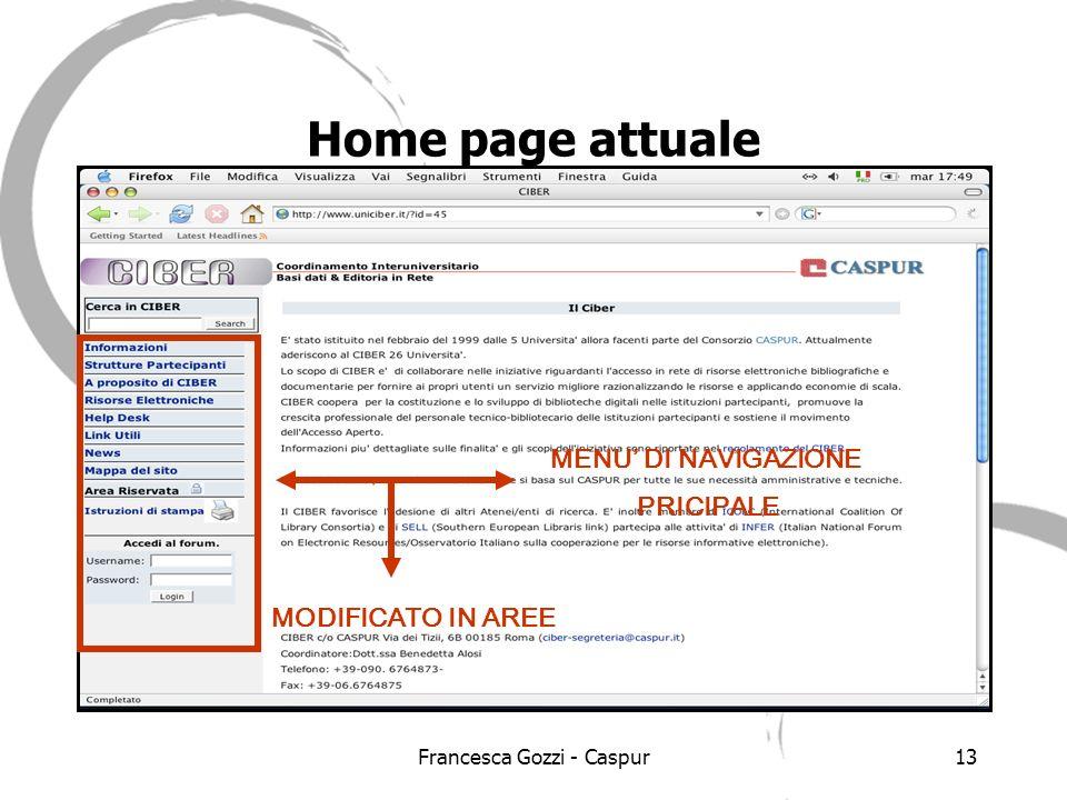 Francesca Gozzi - Caspur13 Home page attuale MENU DI NAVIGAZIONE PRICIPALE MODIFICATO IN AREE