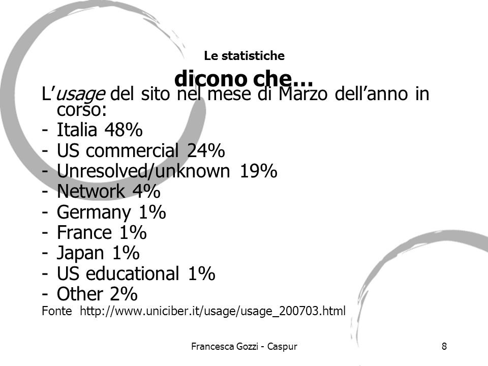 Francesca Gozzi - Caspur8 Lusage del sito nel mese di Marzo dellanno in corso: -Italia 48% -US commercial 24% -Unresolved/unknown 19% -Network 4% -Germany 1% -France 1% -Japan 1% -US educational 1% -Other 2% Fonte http://www.uniciber.it/usage/usage_200703.html Le statistiche dicono che…