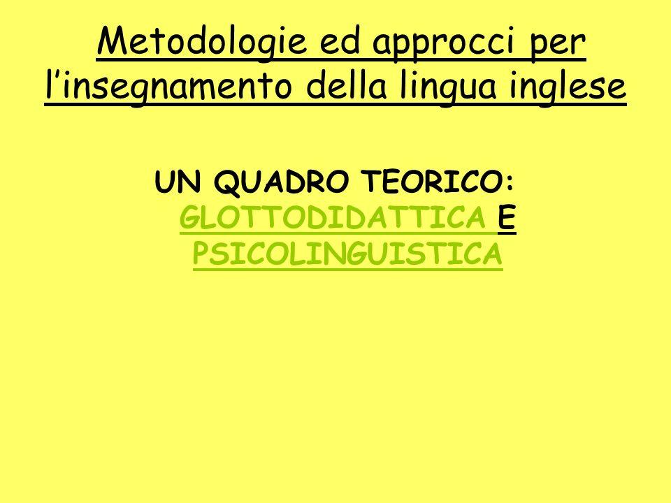 Metodologie ed approcci per linsegnamento della lingua inglese UN QUADRO TEORICO: GLOTTODIDATTICA E PSICOLINGUISTICA