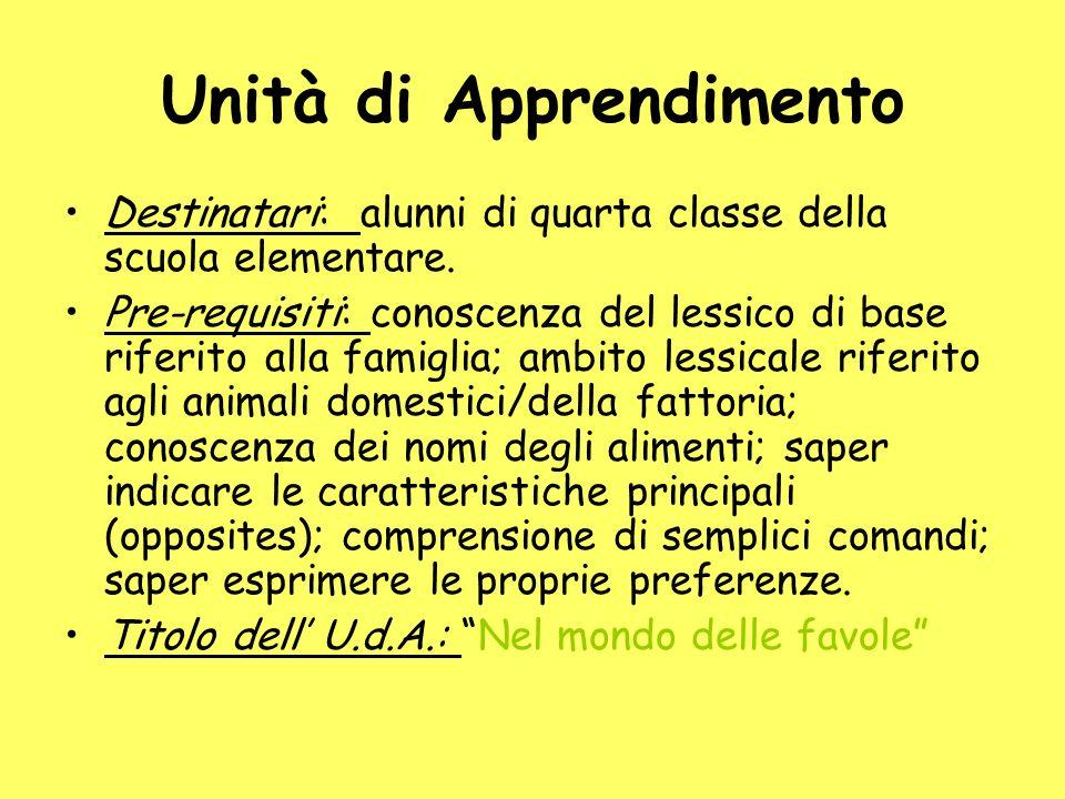 Unità di Apprendimento Destinatari: alunni di quarta classe della scuola elementare.