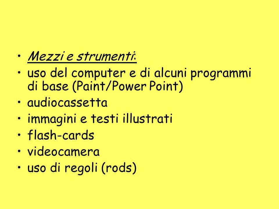 Mezzi e strumenti: uso del computer e di alcuni programmi di base (Paint/Power Point) audiocassetta immagini e testi illustrati flash-cards videocamera uso di regoli (rods)
