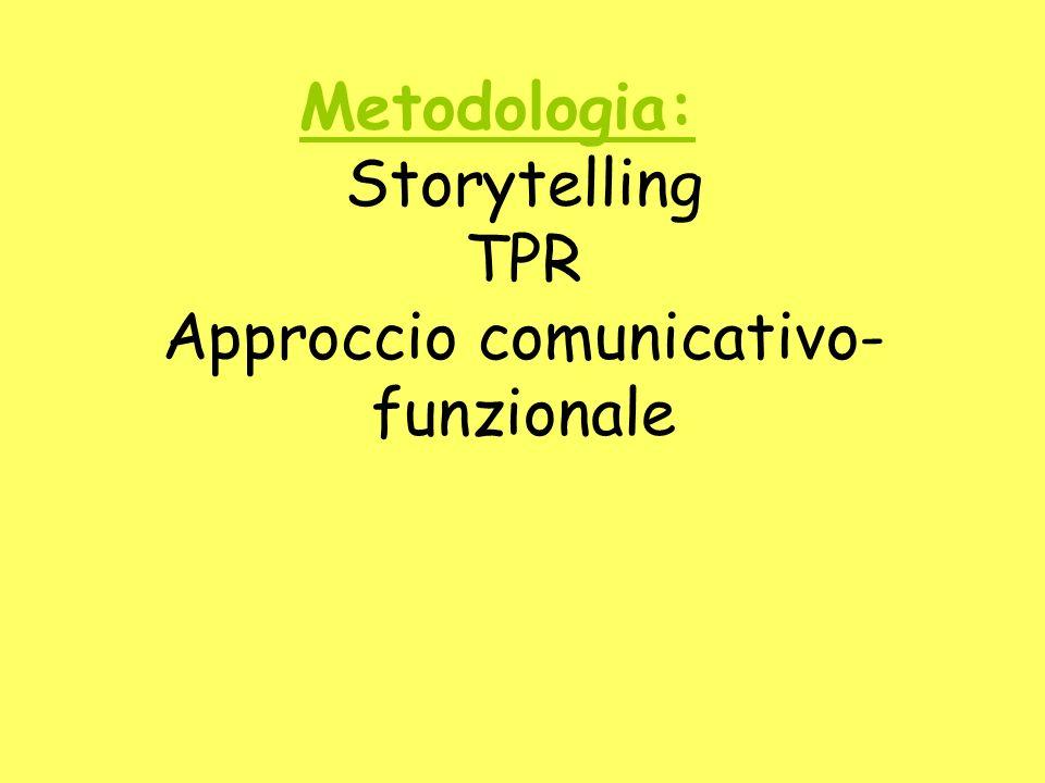 Metodologia: Storytelling TPR Approccio comunicativo- funzionale