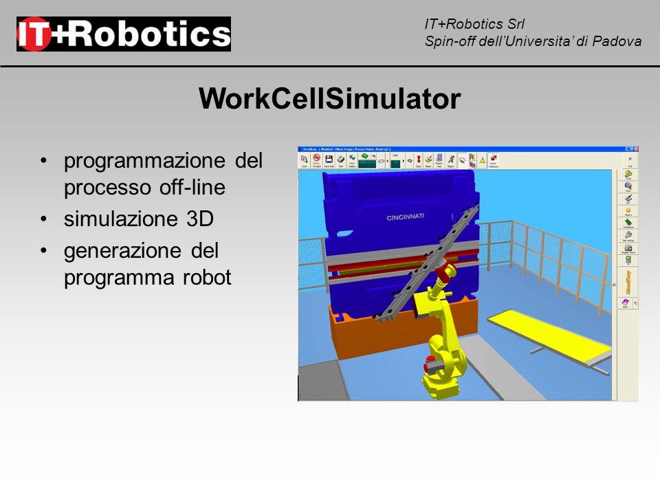 IT+Robotics Srl Spin-off dellUniversita di Padova WorkCellSimulator programmazione del processo off-line simulazione 3D generazione del programma robo