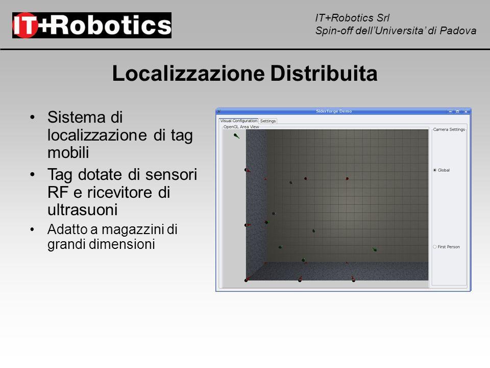 IT+Robotics Srl Spin-off dellUniversita di Padova Localizzazione Distribuita Sistema di localizzazione di tag mobili Tag dotate di sensori RF e ricevi