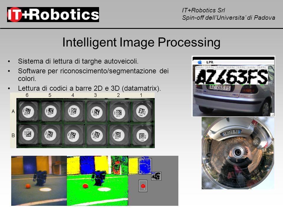 IT+Robotics Srl Spin-off dellUniversita di Padova IT+R-Core IT+R-Core: scheda embedded a micro-processore in grado di gestire completamente un sistema di visione automatica IT+R-Core camera seriale USB controllo motori Studiata per pilotare on- board i robot antropomorfi, la IT+R-Core e un sistema versatile di controllo