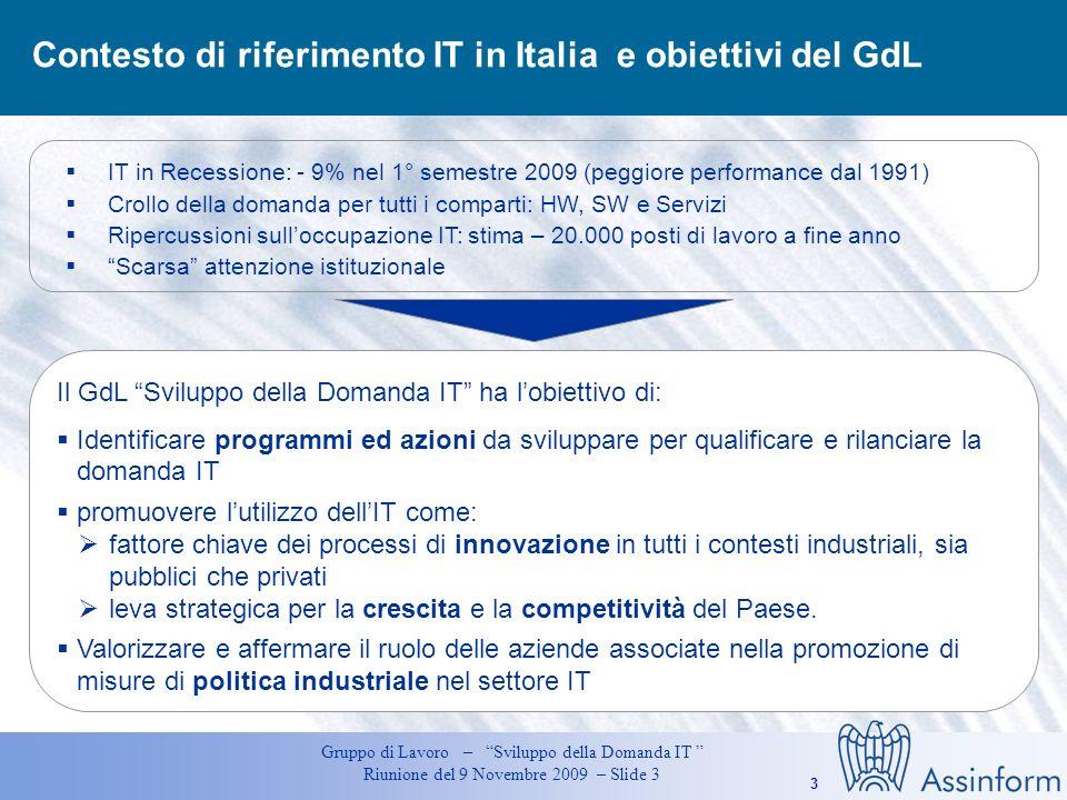 3 Gruppo di Lavoro – Sviluppo della Domanda IT Riunione del 9 Novembre 2009 – Slide 3 Contesto di riferimento IT in Italia e obiettivi del GdL Il GdL Sviluppo della Domanda IT ha lobiettivo di: Identificare programmi ed azioni da sviluppare per qualificare e rilanciare la domanda IT promuovere lutilizzo dellIT come: fattore chiave dei processi di innovazione in tutti i contesti industriali, sia pubblici che privati leva strategica per la crescita e la competitività del Paese.