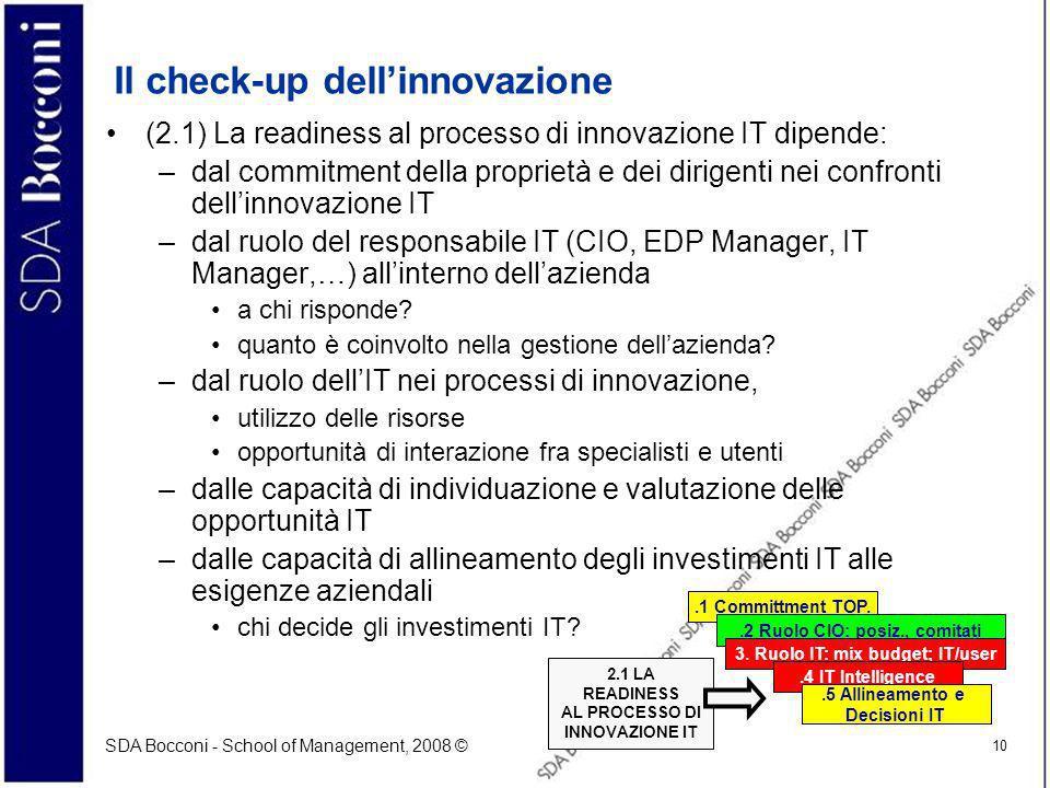 SDA Bocconi - School of Management, 2008 © 10 Il check-up dellinnovazione (2.1) La readiness al processo di innovazione IT dipende: –dal commitment de