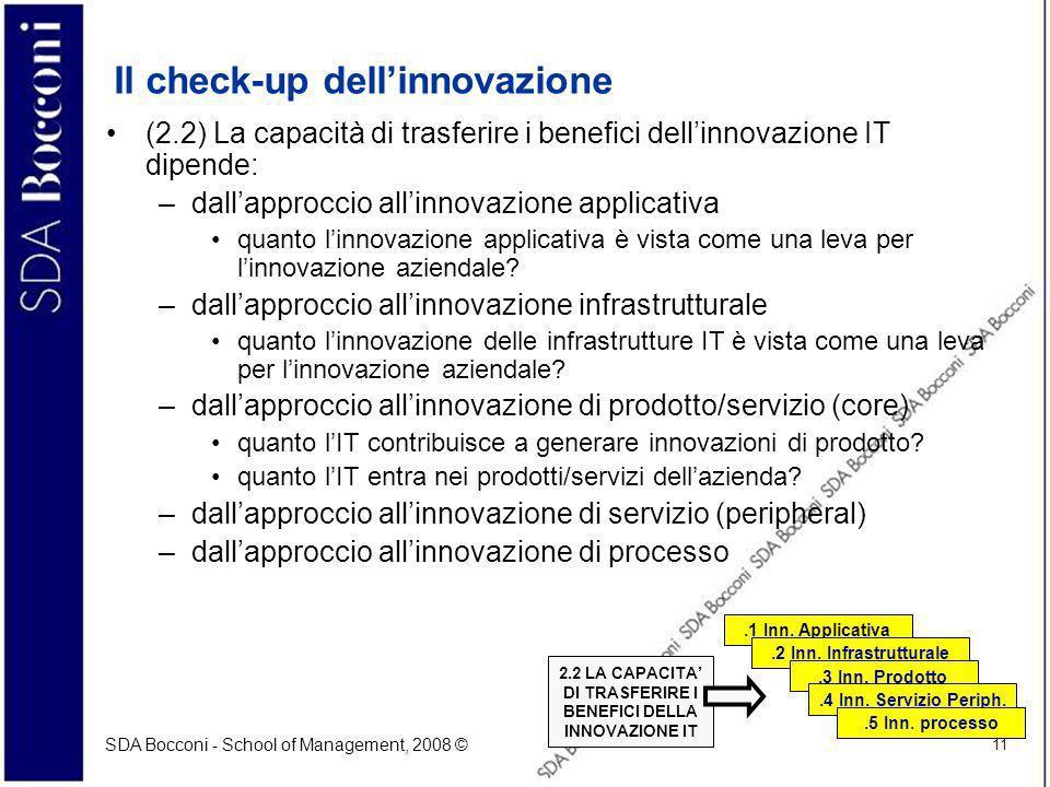 SDA Bocconi - School of Management, 2008 © 11 Il check-up dellinnovazione (2.2) La capacità di trasferire i benefici dellinnovazione IT dipende: –dall