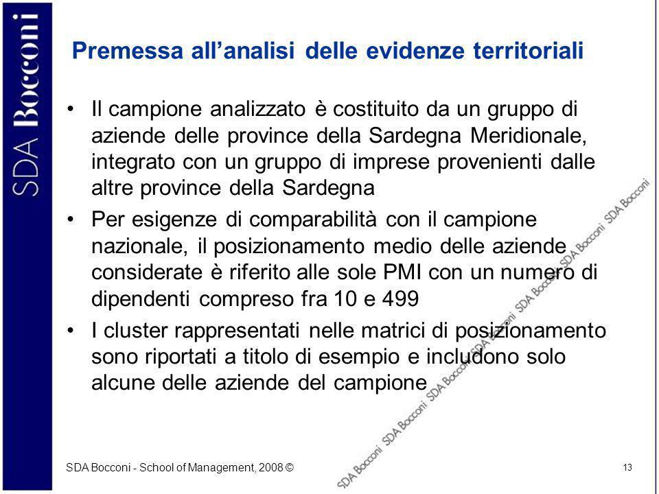 SDA Bocconi - School of Management, 2008 © 13 Premessa allanalisi delle evidenze territoriali Il campione analizzato è costituito da un gruppo di azie