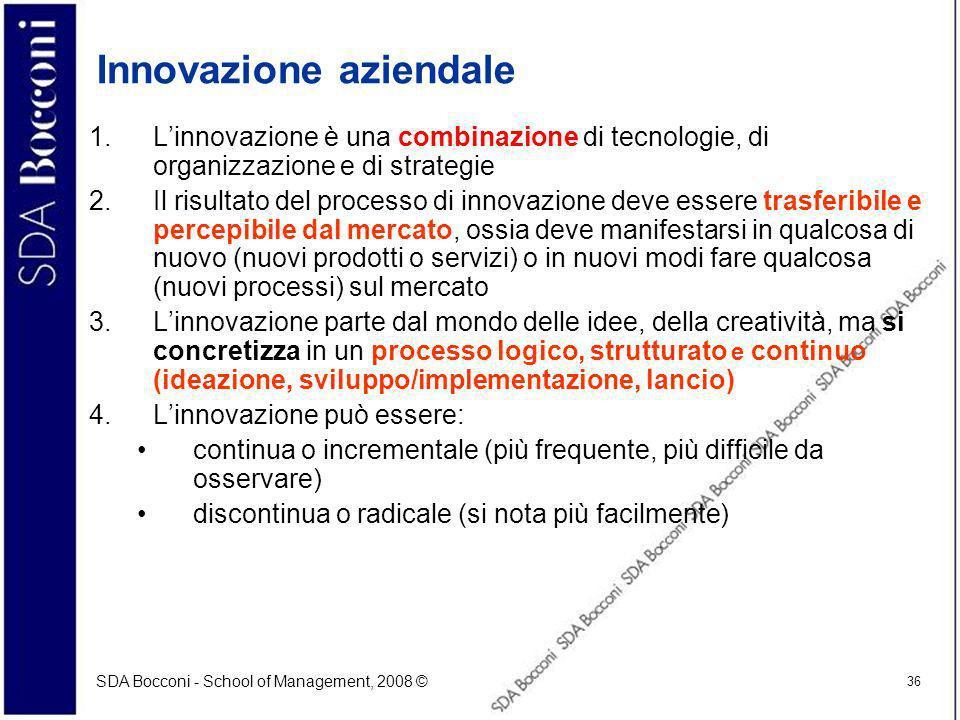 SDA Bocconi - School of Management, 2008 © 36 Innovazione aziendale 1.Linnovazione è una combinazione di tecnologie, di organizzazione e di strategie