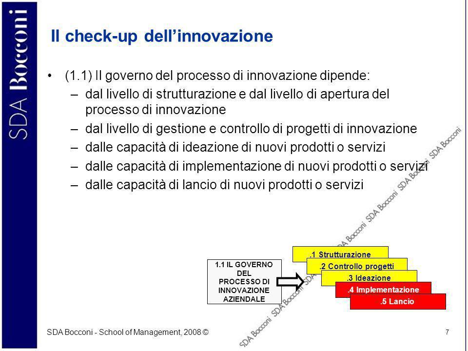 SDA Bocconi - School of Management, 2008 © 7 Il check-up dellinnovazione (1.1) Il governo del processo di innovazione dipende: –dal livello di strutturazione e dal livello di apertura del processo di innovazione –dal livello di gestione e controllo di progetti di innovazione –dalle capacità di ideazione di nuovi prodotti o servizi –dalle capacità di implementazione di nuovi prodotti o servizi –dalle capacità di lancio di nuovi prodotti o servizi.1 Strutturazione.2 Controllo progetti.3 Ideazione.4 Implementazione.5 Lancio 1.1 IL GOVERNO DEL PROCESSO DI INNOVAZIONE AZIENDALE