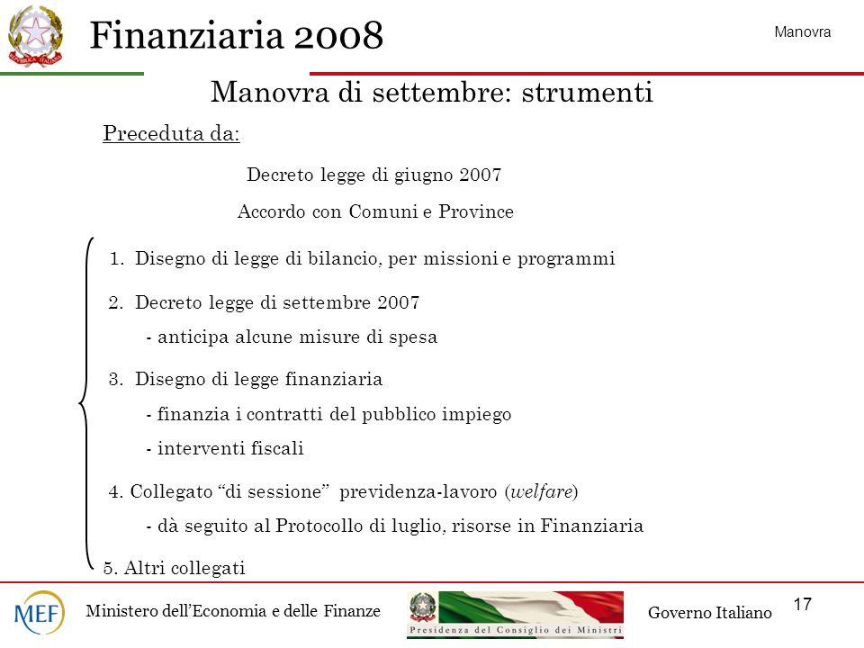 Finanziaria 2008 Ministero dellEconomia e delle Finanze Governo Italiano 17 Preceduta da: Decreto legge di giugno 2007 Accordo con Comuni e Province 1.