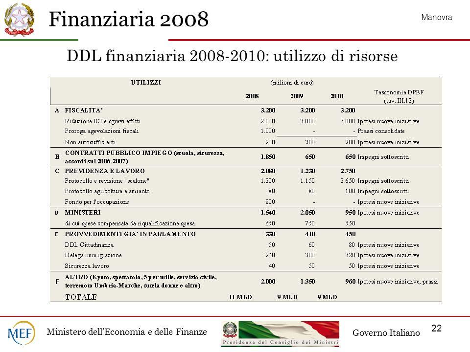 Finanziaria 2008 Ministero dellEconomia e delle Finanze Governo Italiano 22 DDL finanziaria 2008-2010: utilizzo di risorse Manovra