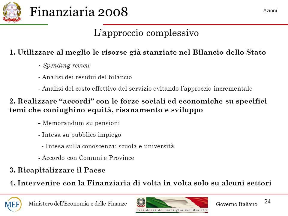 Finanziaria 2008 Ministero dellEconomia e delle Finanze Governo Italiano 24 Lapproccio complessivo 1.
