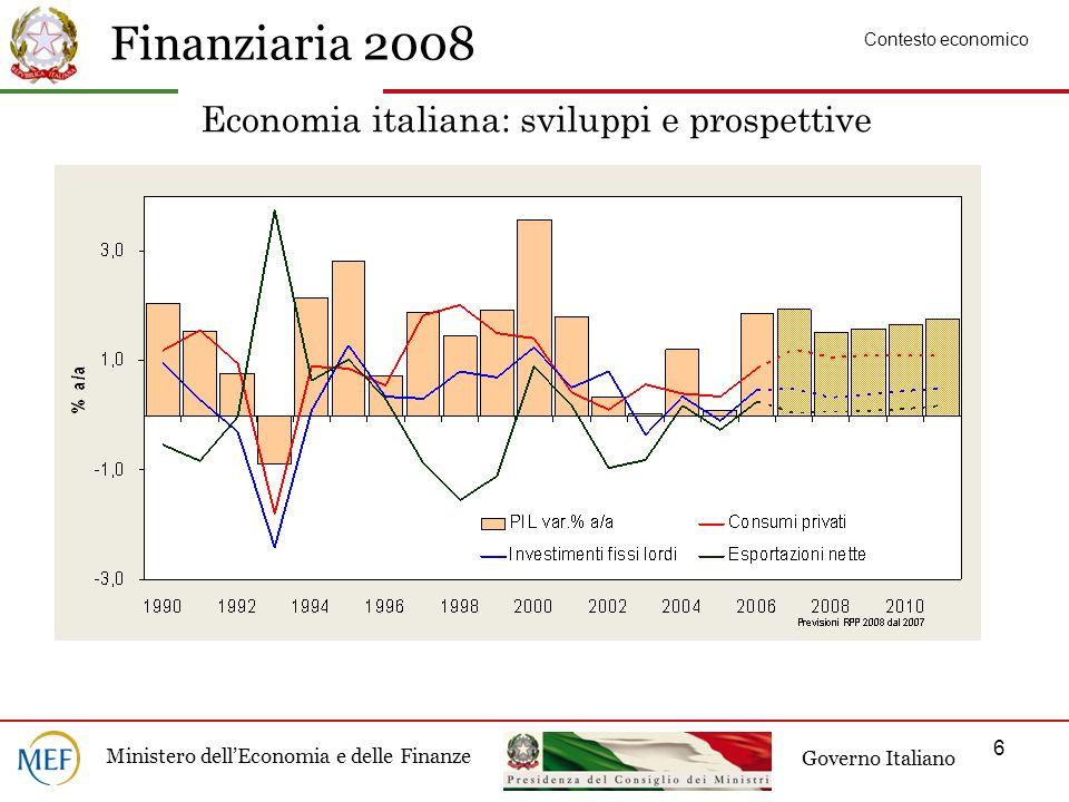 Finanziaria 2008 Ministero dellEconomia e delle Finanze Governo Italiano 6 Economia italiana: sviluppi e prospettive Contesto economico
