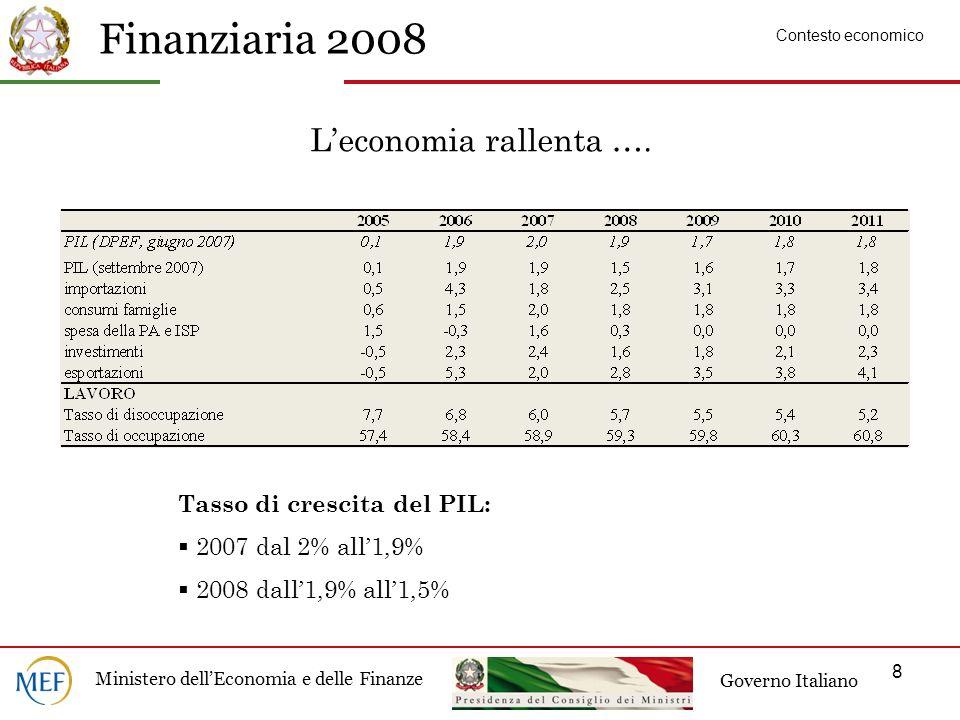 Finanziaria 2008 Ministero dellEconomia e delle Finanze Governo Italiano 8 Leconomia rallenta ….