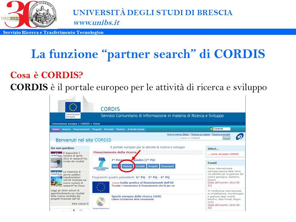 La funzione partner search di CORDIS UNIVERSITÀ DEGLI STUDI DI BRESCIA www.unibs.it Cosa è CORDIS.