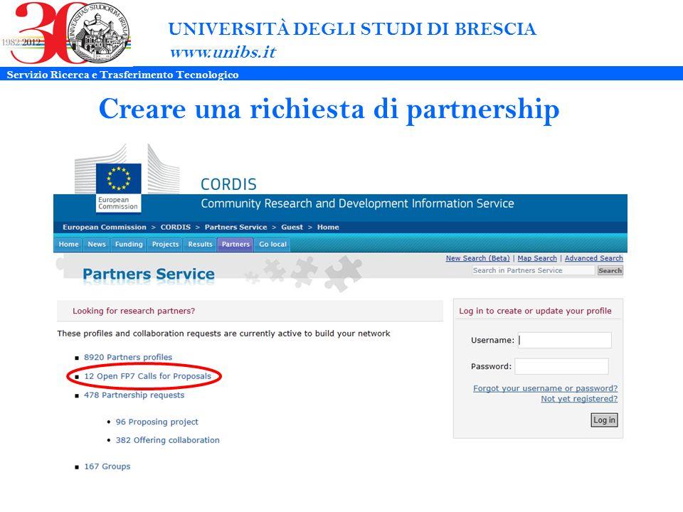 UNIVERSITÀ DEGLI STUDI DI BRESCIA www.unibs.it Creare una richiesta di partnership Servizio Ricerca e Trasferimento Tecnologico