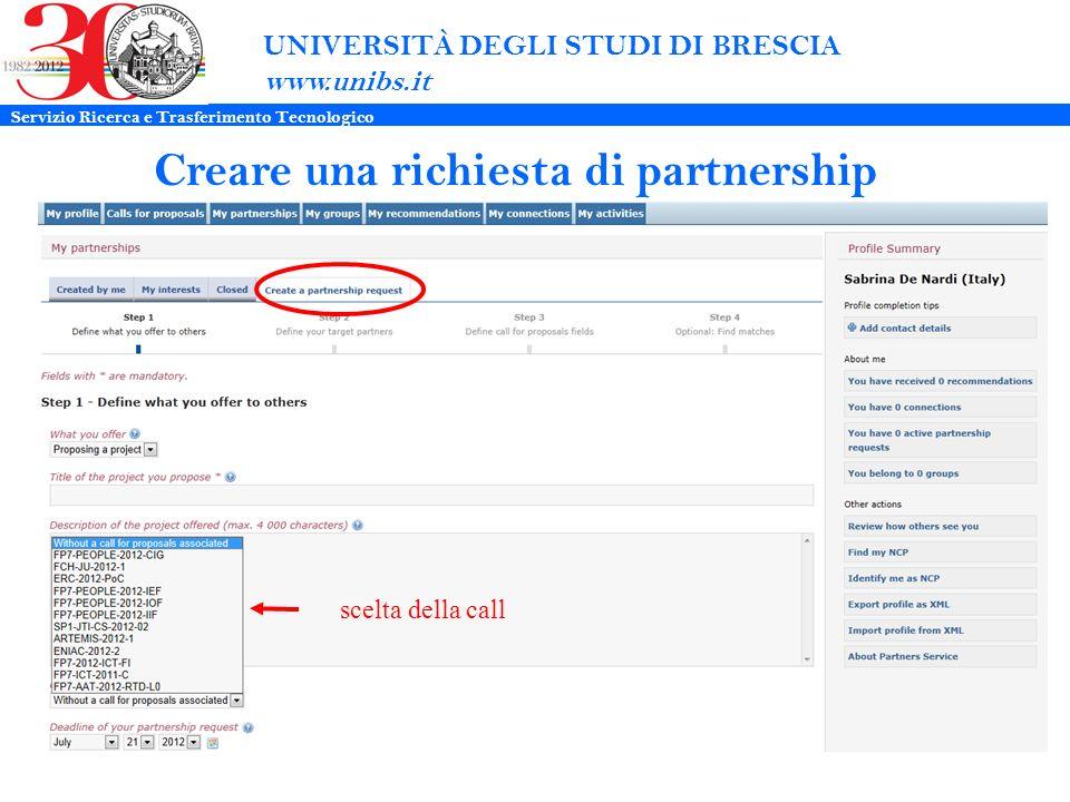 UNIVERSITÀ DEGLI STUDI DI BRESCIA www.unibs.it Creare una richiesta di partnership scelta della call Servizio Ricerca e Trasferimento Tecnologico