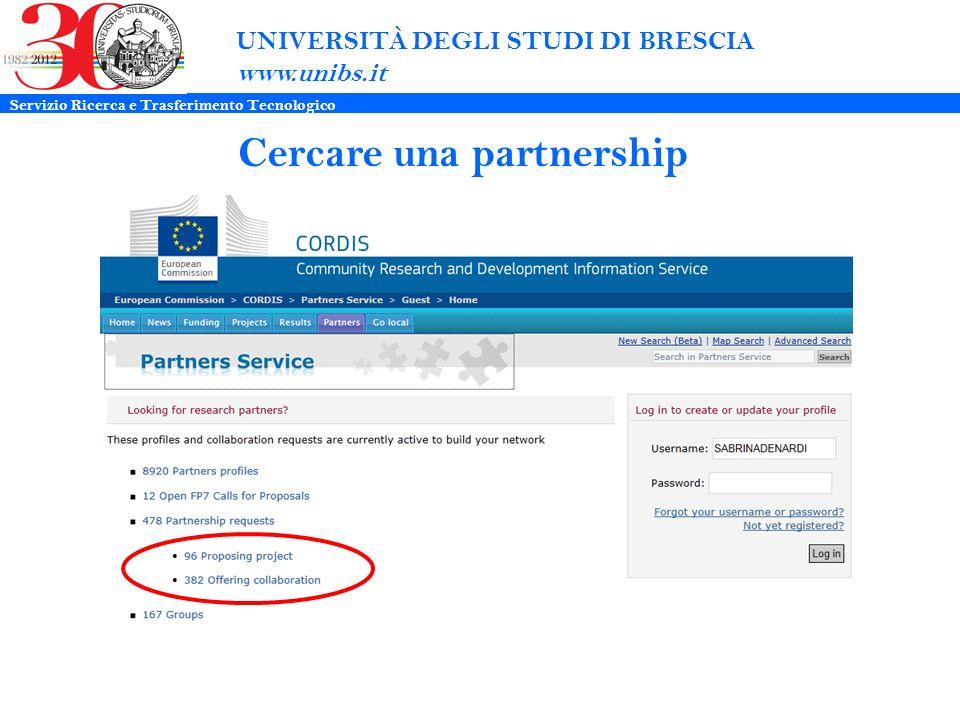UNIVERSITÀ DEGLI STUDI DI BRESCIA www.unibs.it Cercare una partnership Servizio Ricerca e Trasferimento Tecnologico