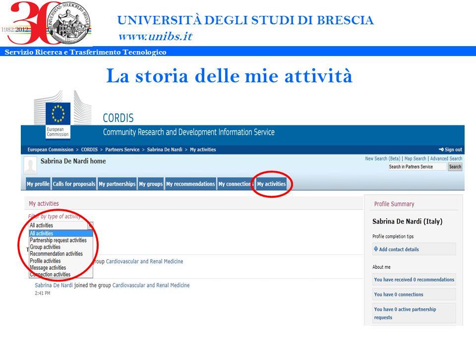 UNIVERSITÀ DEGLI STUDI DI BRESCIA www.unibs.it La storia delle mie attività Servizio Ricerca e Trasferimento Tecnologico