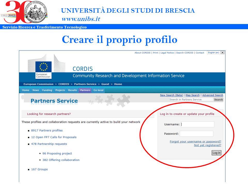 UNIVERSITÀ DEGLI STUDI DI BRESCIA www.unibs.it Creare il proprio profilo Servizio Ricerca e Trasferimento Tecnologico