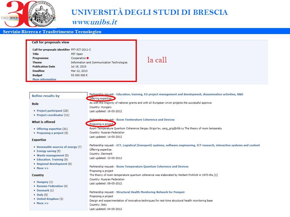 UNIVERSITÀ DEGLI STUDI DI BRESCIA www.unibs.it la call Servizio Ricerca e Trasferimento Tecnologico