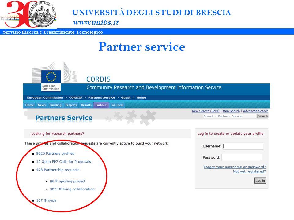 UNIVERSITÀ DEGLI STUDI DI BRESCIA www.unibs.it Partner service Servizio Ricerca e Trasferimento Tecnologico