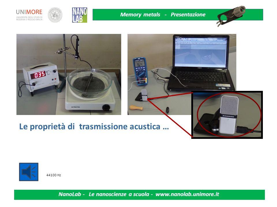 Memory metals - Presentazione NanoLab - Le nanoscienze a scuola - www.nanolab.unimore.it Riflettanza, lucentezza, colore, rugosità …. austenite marten