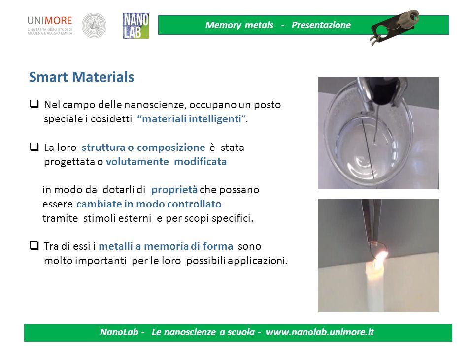 Memory metals - Presentazione NanoLab - Le nanoscienze a scuola - www.nanolab.unimore.it 2 Transizioni di fase Struttura atomica cristalli Dilatazione