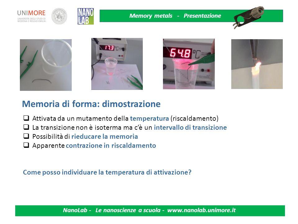 Memory metals - Presentazione NanoLab - Le nanoscienze a scuola - www.nanolab.unimore.it Smart Materials - Esempi Metalli e polimeri a memoria di form