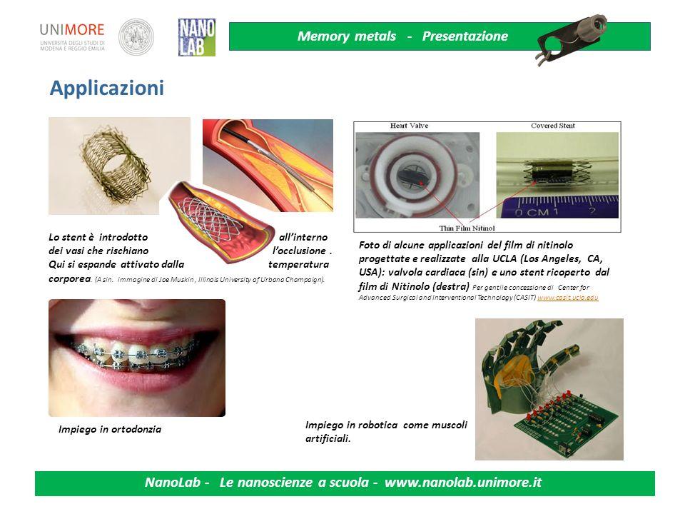Memory metals - Presentazione NanoLab - Le nanoscienze a scuola - www.nanolab.unimore.it Attivata da un mutamento della temperatura (riscaldamento) La