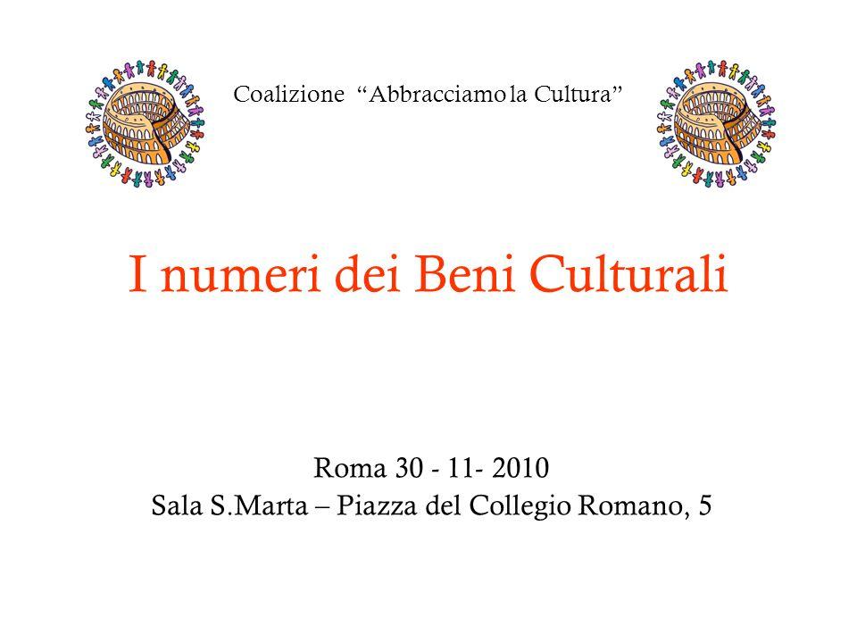 Coalizione Abbracciamo la Cultura I numeri dei Beni Culturali Roma 30 - 11- 2010 Sala S.Marta – Piazza del Collegio Romano, 5