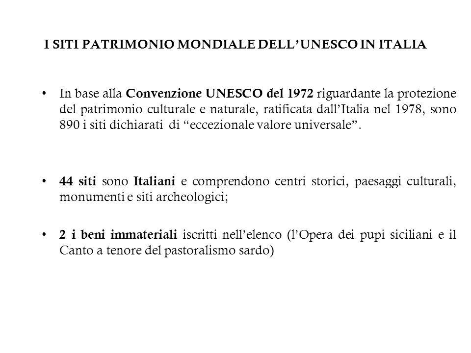 I SITI PATRIMONIO MONDIALE DELLUNESCO IN ITALIA In base alla Convenzione UNESCO del 1972 riguardante la protezione del patrimonio culturale e naturale