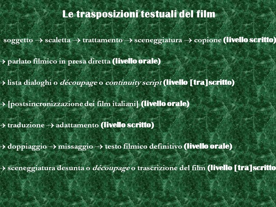 Le trasposizioni testuali del film soggetto scaletta trattamento sceneggiatura copione (livello scritto) parlato filmico in presa diretta (livello ora