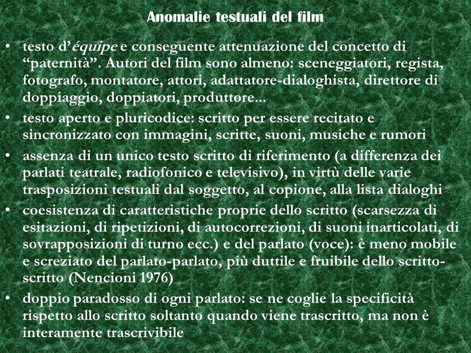 Anomalie testuali del film testo déquipe e conseguente attenuazione del concetto di paternità.