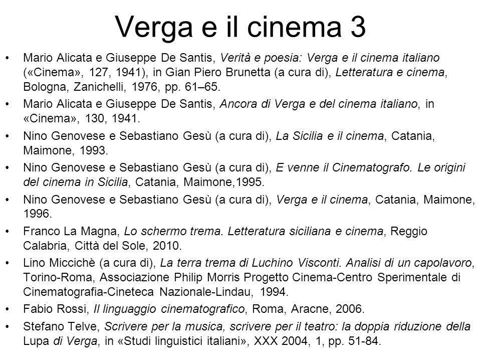 Verga e il cinema 3 Mario Alicata e Giuseppe De Santis, Verità e poesia: Verga e il cinema italiano («Cinema», 127, 1941), in Gian Piero Brunetta (a cura di), Letteratura e cinema, Bologna, Zanichelli, 1976, pp.