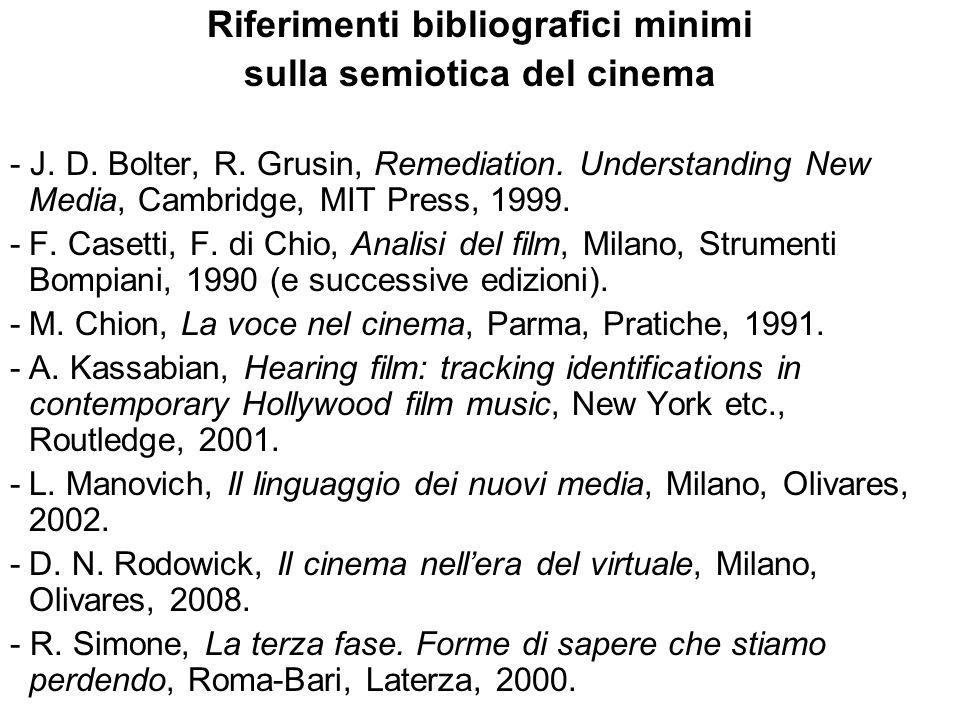 Riferimenti bibliografici minimi sulla semiotica del cinema - J. D. Bolter, R. Grusin, Remediation. Understanding New Media, Cambridge, MIT Press, 199
