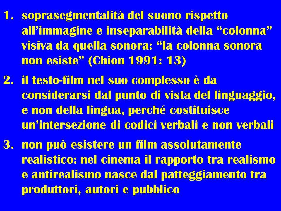 1.soprasegmentalità del suono rispetto allimmagine e inseparabilità della colonna visiva da quella sonora: la colonna sonora non esiste (Chion 1991: 1