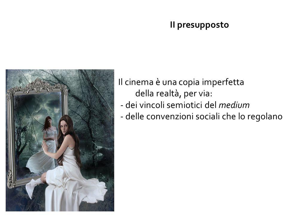 2° presupposto II presupposto Il cinema è una copia imperfetta della realtà, per via: - dei vincoli semiotici del medium - delle convenzioni sociali che lo regolano